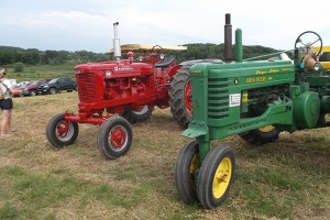Donated tractors ready to pull the people haulers.